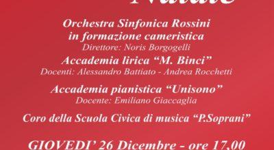 """Concerto di Natale con le Accademie """"Binci"""", """"Unisono"""" e l'orchestra sinfonica Rossini"""